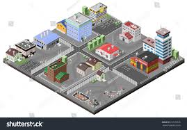 industrial area concept isometric plants factories stock vector