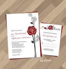 Single Card Wedding Invitations Free Pdf Download Red Rose Invitation And Rsvp Easy To Edit And
