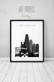 los angeles print black and white travel poster city