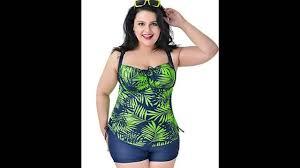 womens plus size printed pieces tankini top boyshorts swimsuits