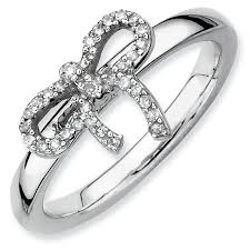 stackable diamond rings silver stackable bow diamond ring