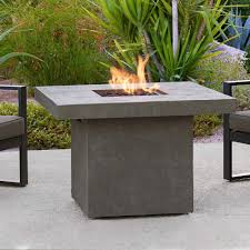 Outdoor Gas Fire Pit Real Flame Ventura 36 In Fiber Concret Square Chat Height Propane