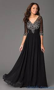 formal gown sheer sleeve beaded v neck formal gown