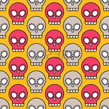 skull wrapping paper tribal vector outline style seamless pattern on background