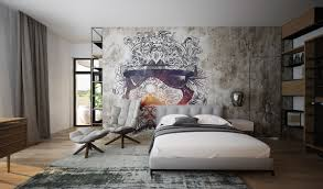 Bedroom Art Ideas by Artistic Bedroom Art Ideas With Sketch On Brick Walls Also Vintage