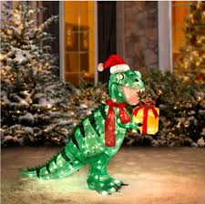 christmas lighted tinsel t rex dinosaur 42 u0027 u0027 prelit home accents