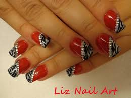 zebra with red nail design tutorial youtube