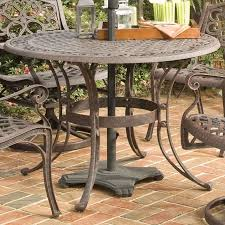 Outdoor Patio Set With Umbrella 48 Inch Round Outdoor Patio Table In Rust Brown Metal With