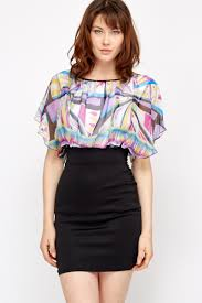 abstract contrast blouson dress just 5