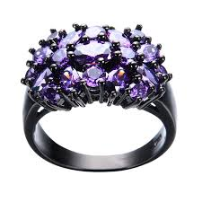 unique fashion rings images Elegant purple black gold filled cz ring unique design vintage jpg
