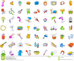 everyday objects icons stock vector image of hairdryer 27372993