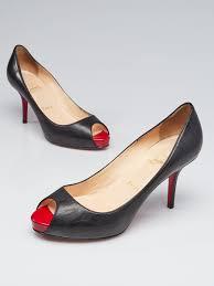 christian louboutin black leather very prive 100 peep toe pumps