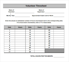 11 volunteer timesheet templates u2013 free sample example format