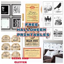 geeks and glitter free halloween printables for decorating your home