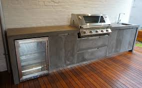 Concrete Patio Bench Outdoor Kitchen With Polished Concrete Bench Top Doors And Drawer