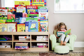 front facing bookshelves creating a green playroom and voracious