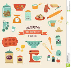 Kitchen Design Elements Recipe And Kitchen Vector Design Icon Set Stock Vector