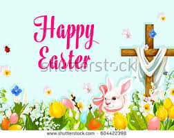 easter pictures easter egg hunt rabbit cross greeting stock vector 604422398