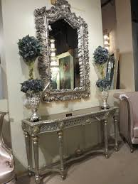 console table and mirror set varigated silver gold ornate console table mirror set