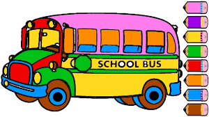 car and bus coloring page drawing bus learn colors for kids