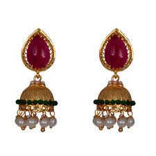 jhumki earring mahaveer pearls new festive collections radiant green brass jhumki