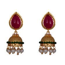 jhumki earring mahaveer pearls new festive collections radiant green brass jhumki