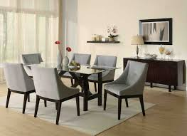 glass dining table set with 6 chairs black and chrome finish near