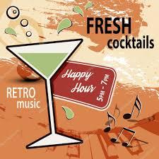 retro martini clip art retro cocktail bar poster ad happy hour u2014 stock vector doozie