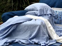 sky blue linen flat sheet in queen or king sizes stonewashed