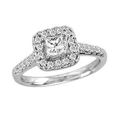 engagement rings princess cut white gold 3 4 ct t w princess cut engagement ring in 14k white