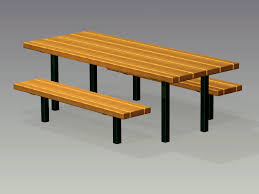 Wooden Bench And Table Timberform Site Furnishings