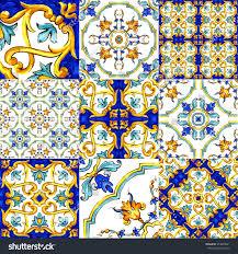 ornament on italian tiles majolica cyan stock illustration