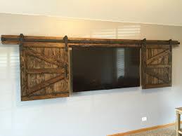 hidden sliding tv barn door set rustic tv barn door sliding