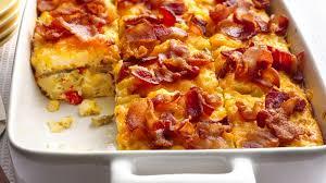 egg strata casserole bacon and hash brown egg bake recipe bettycrocker com