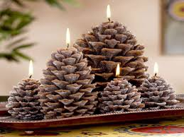 pinecone christmas decorations christmas pine cone candles pine