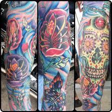sugar skull sleeve tattoos