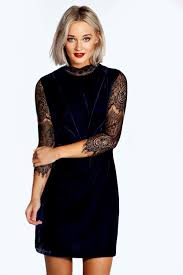 high neck dress riona high neck lace and velvet bodycon dress boohoo