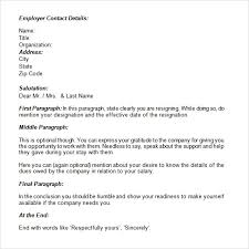 resignation letter format resignation letter resignation letter