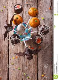 Halloween Pop Cakes Halloween Pop Cakes On A Table Vertical Top View Stock Photo