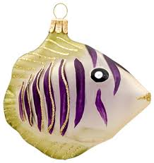 purple zebra fish ornament style ornaments