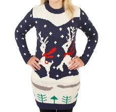 ugly christmas sweater prancing reindeer holiday sweater dress