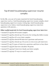Hotel Housekeeping Resume Sample by Housekeeping Supervisor Resume Download Resume For Your Job