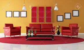 Living Room Arm Chair Two Red Armchair And Sofa In A Contemporary Living Room