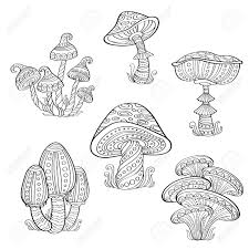 set of stylized ornamental mushrooms line collection