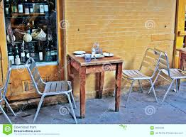 Restaurant Patio Tables by Place With A Table Outside A Small Restaurant Royalty Free Stock