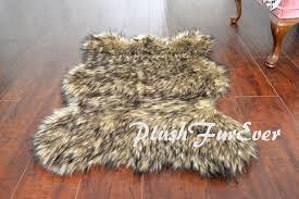 Wolf Area Rugs by 5 U0027 6 U0027 7 U0027 Black Tip Wolf Area Rug Lodge Cabin Bearskin Shape