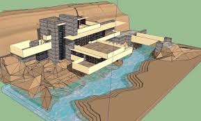 sketchup 3d architecture models falling water frank lloyd