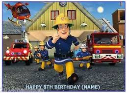 fireman sam u0026 fire engine a4 rectangle edible icing sheet birthday