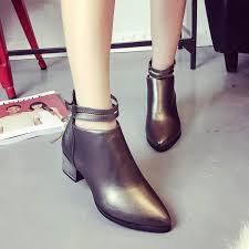 womens boots block heel autumn belts pointed zipper boots block