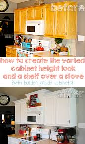 kitchen cabinets height above counter creating faux varied height cabinets and a shelf a